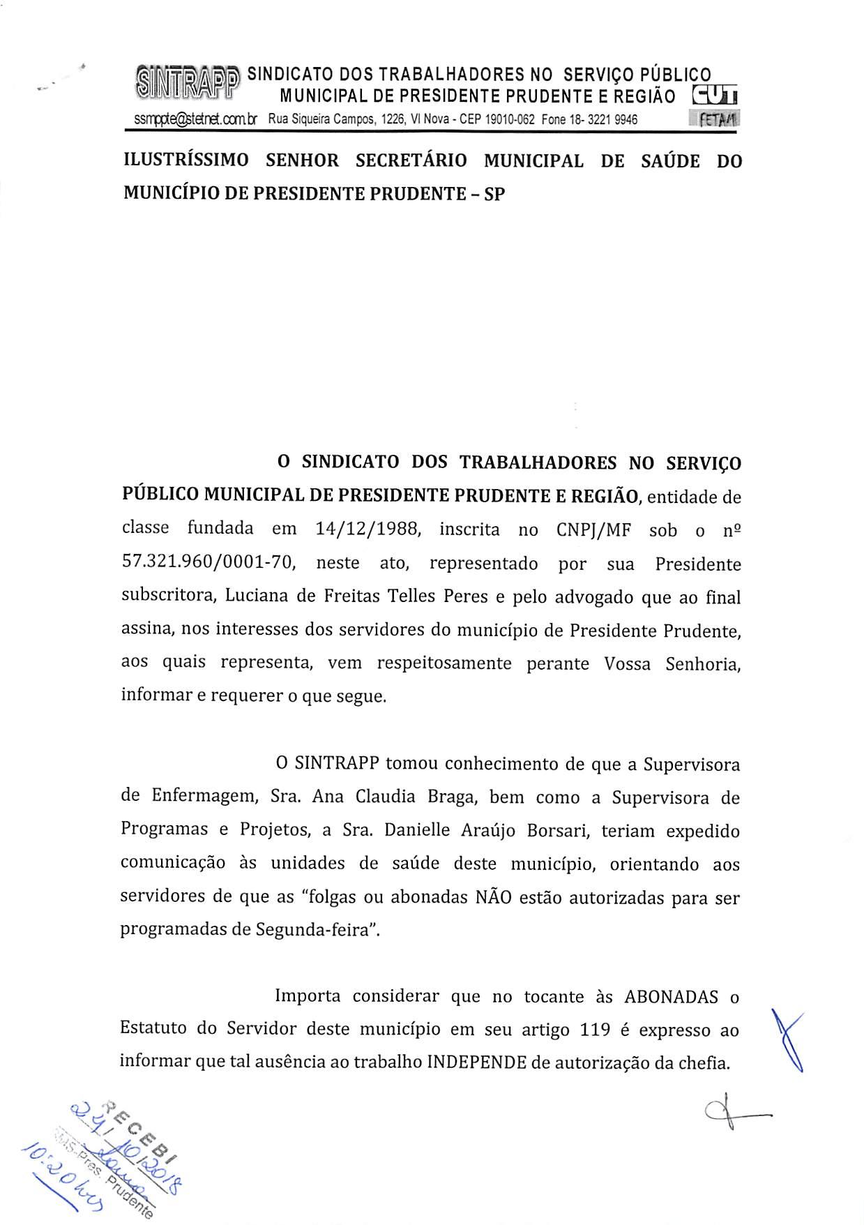 Sindicato reivindica anulação de comunicado da Sesau sobre abonadas