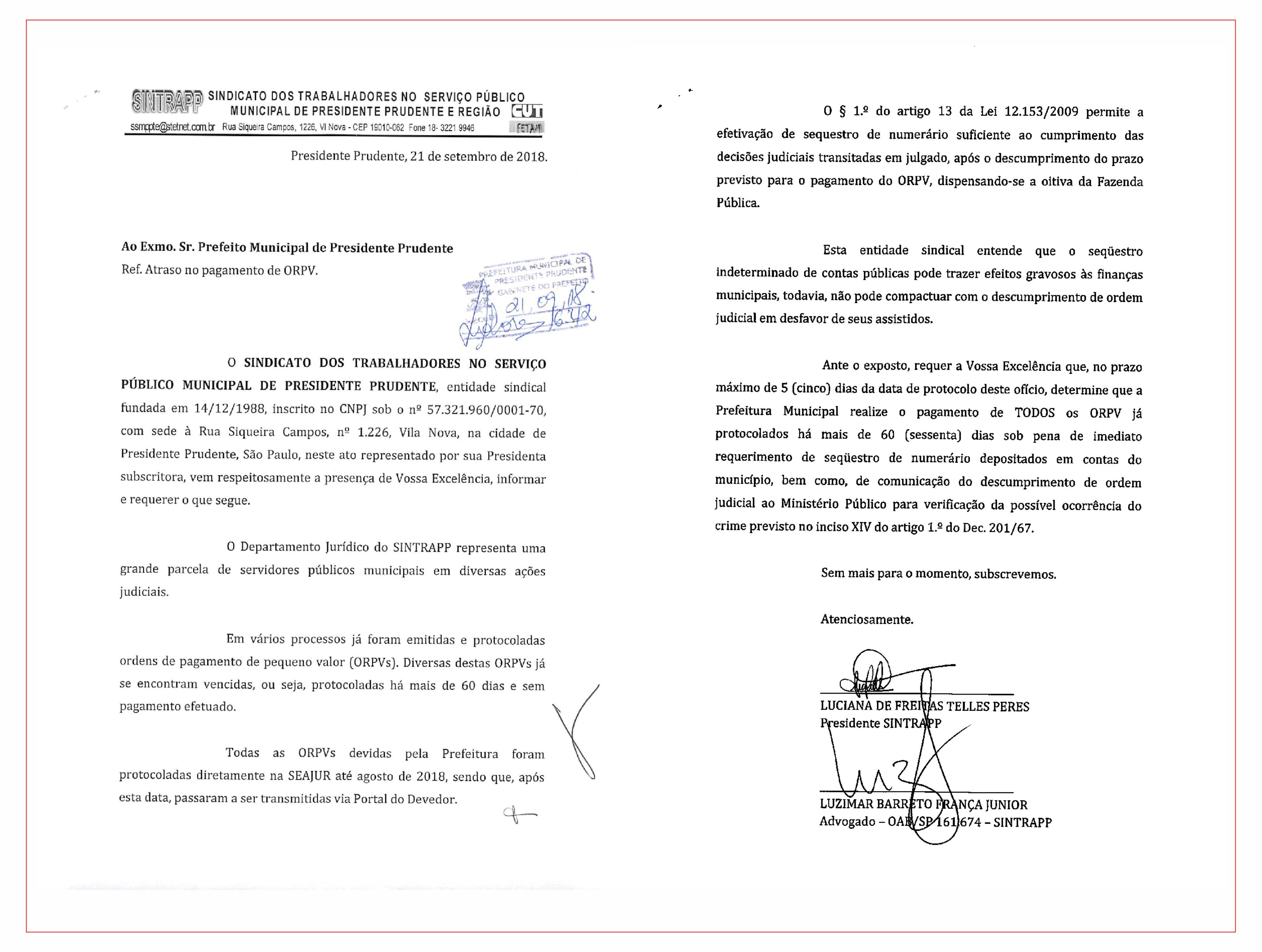 Sindicato notifica prefeitura acerca do pagamento de ações