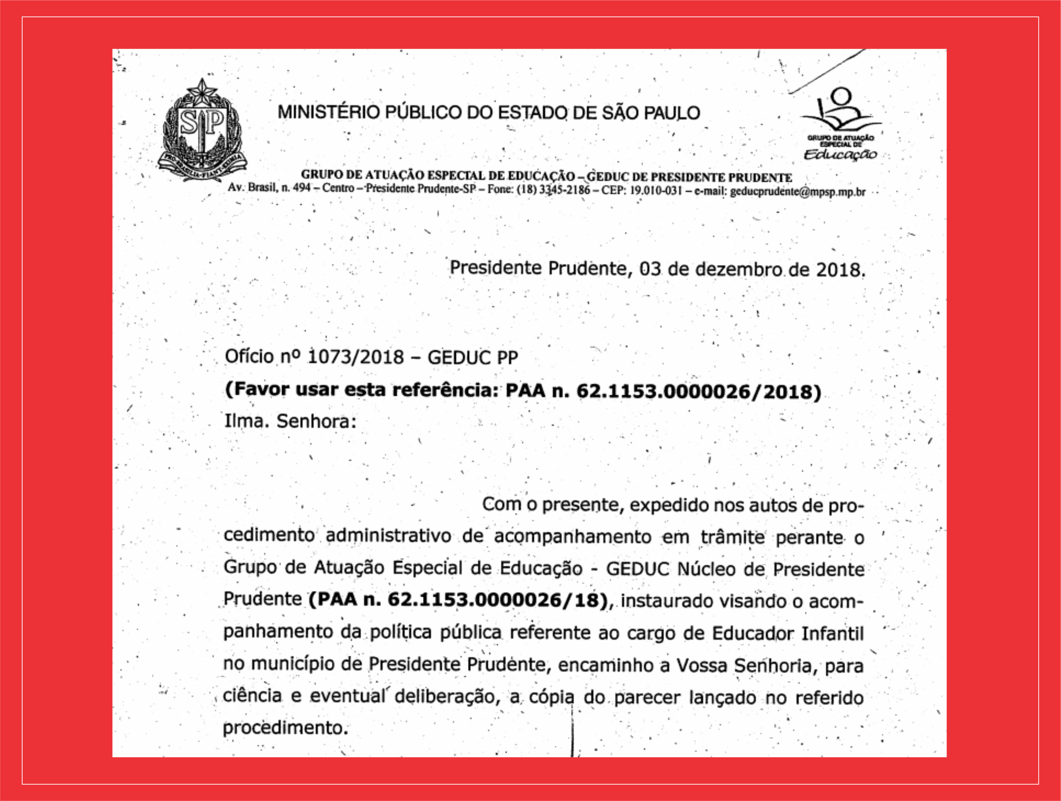 Sindicato recebe documento do Ministério Público acerca do cargo de Educador Infantil