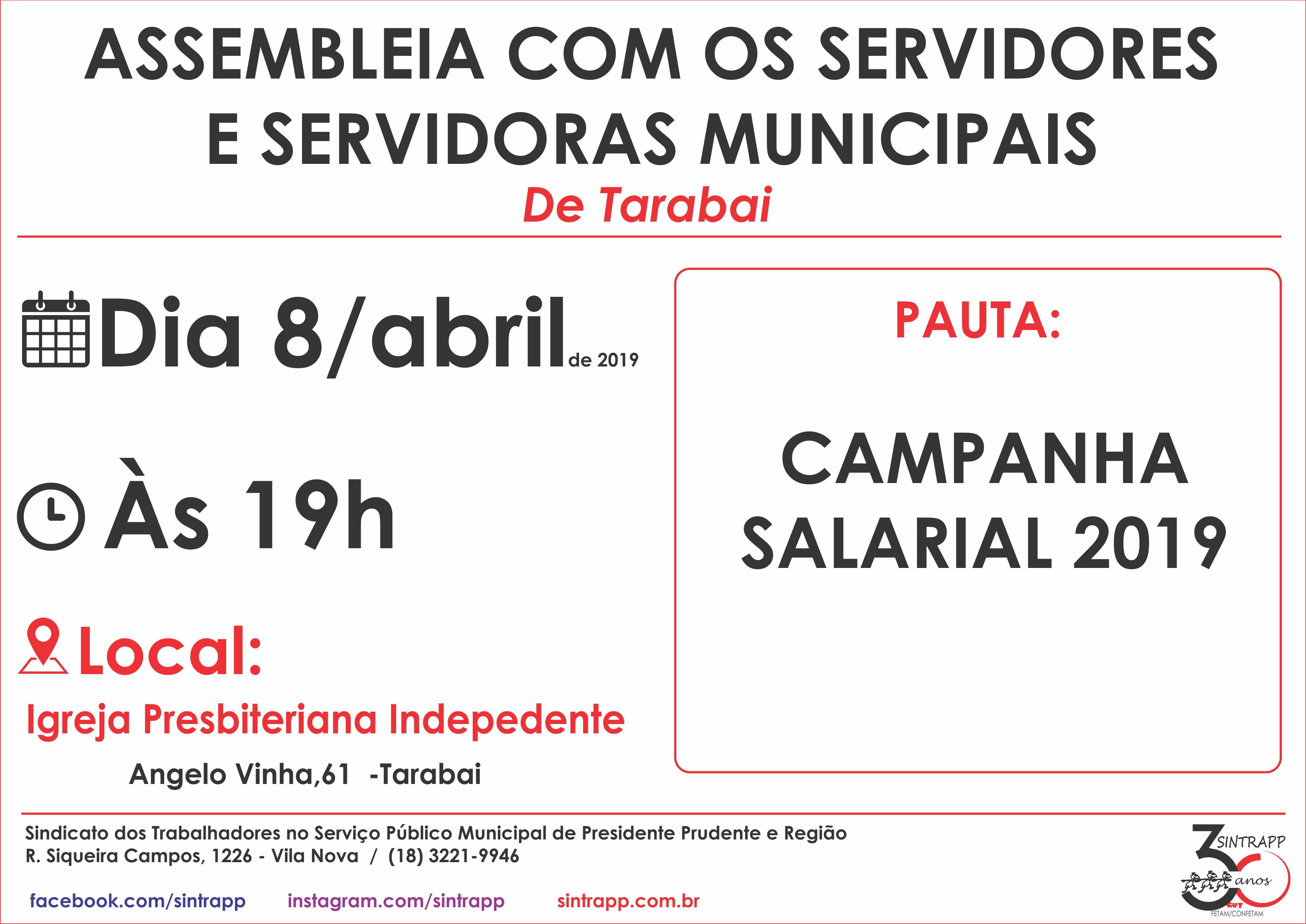 Sindicato convoca servidores e servidoras de Tarabai para assembleia
