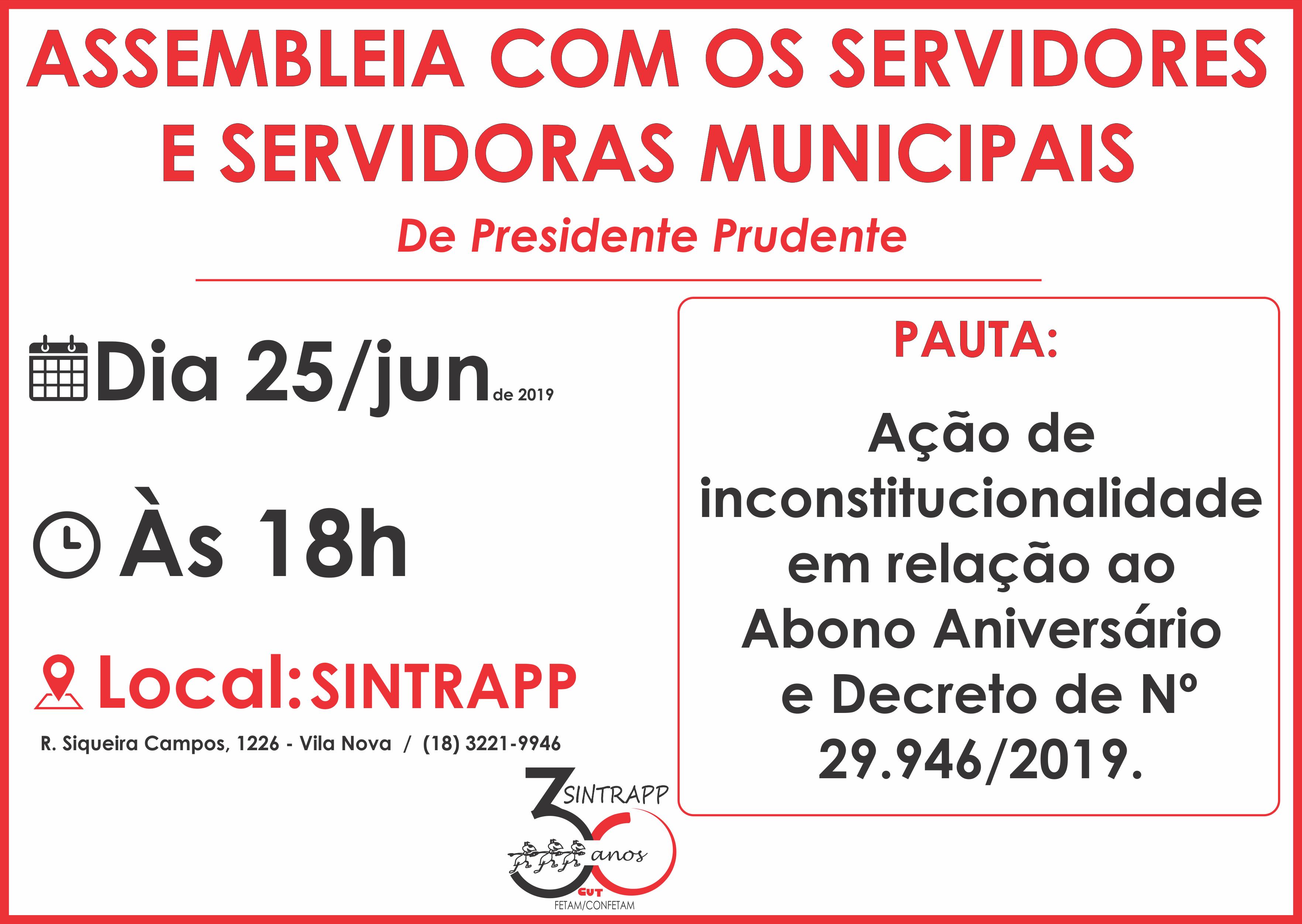 Sintrapp convoca para a assembleia geral no dia 25/06