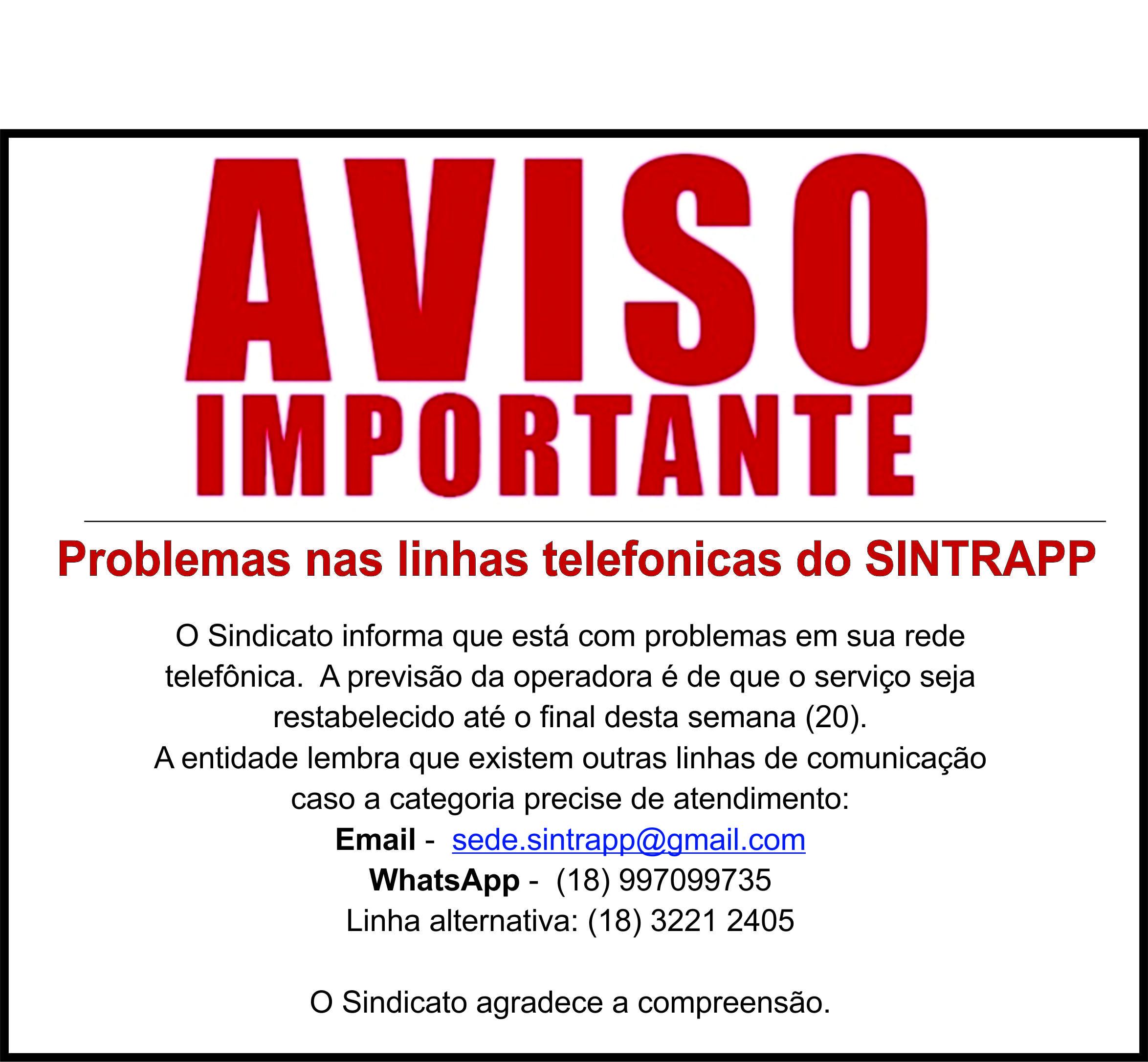 Problemas nas linhas telefônicas do Sintrapp