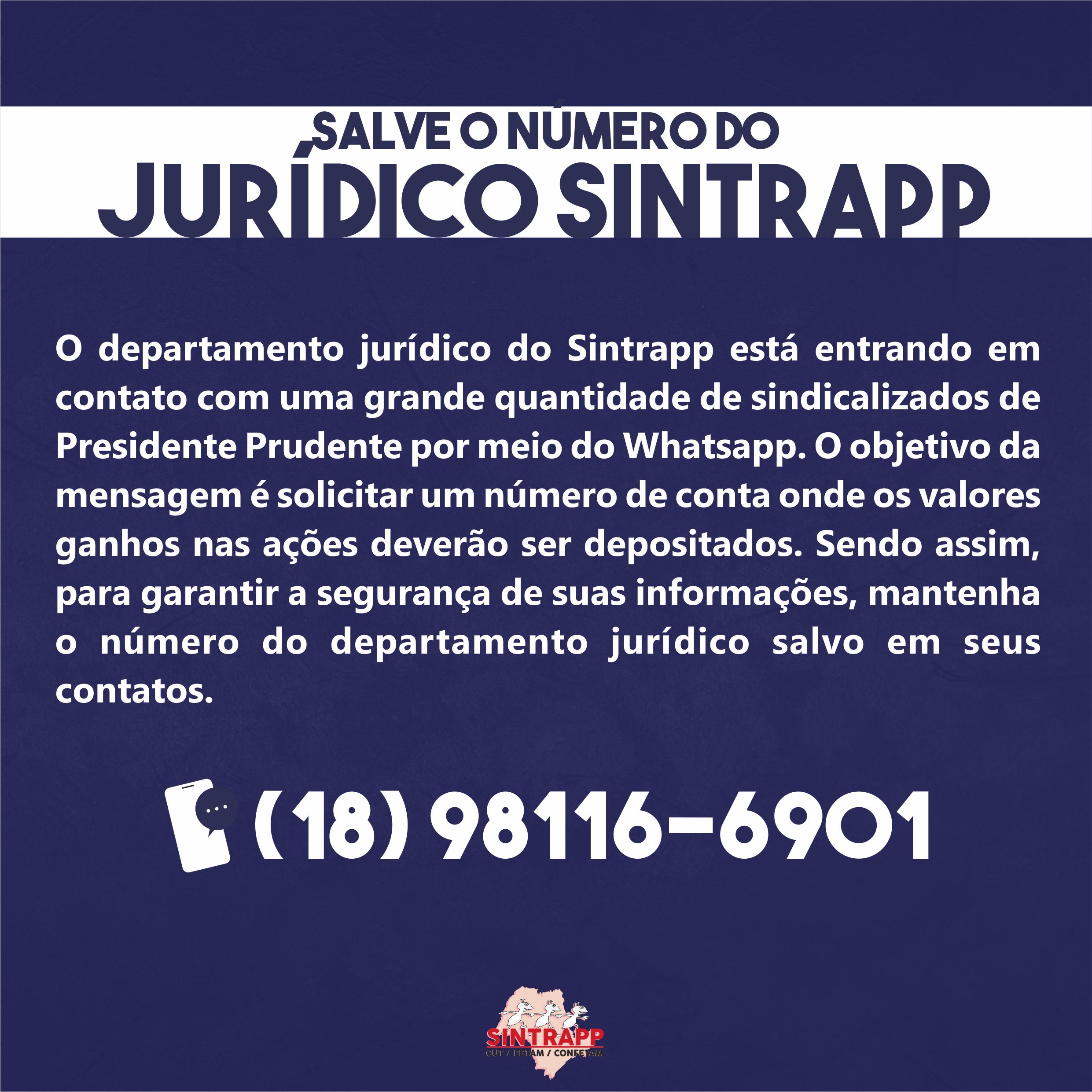 Informe do departamento jurídico / Contato Whatsapp
