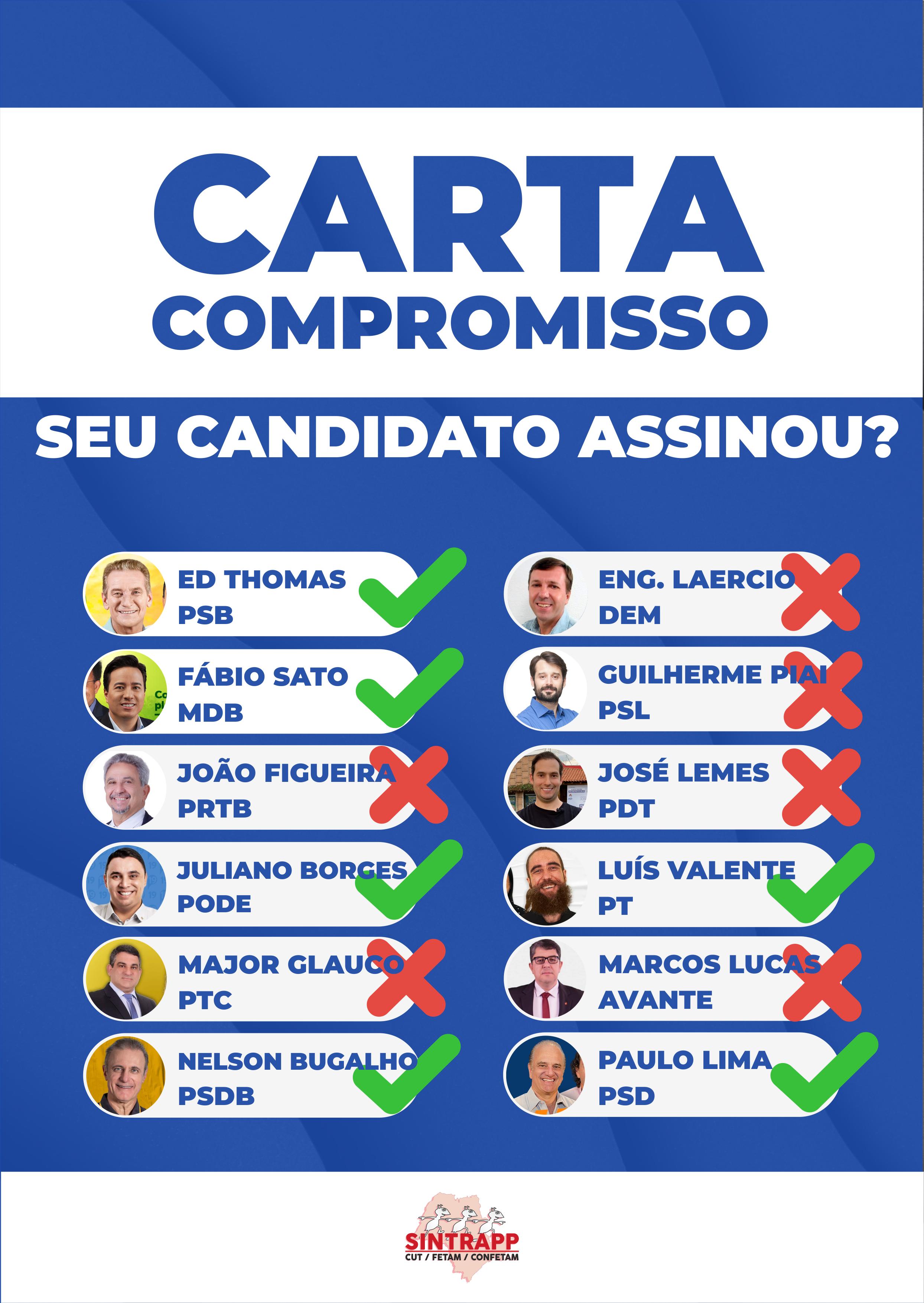 Carta Compromisso – Será que seu candidato  está comprometido com a  categoria?